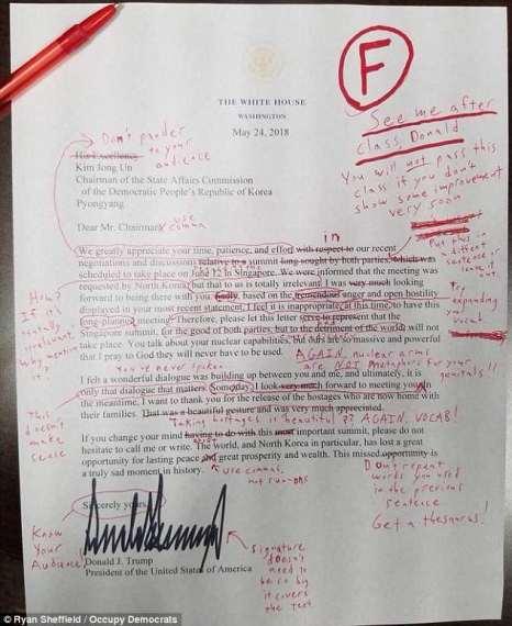 نامه دونالد ترامپ به رهبر کره شمالی کیم جونگ اون