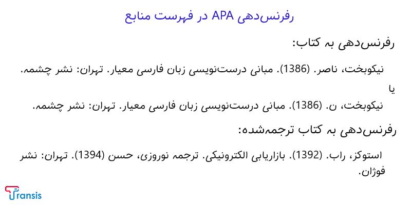 نمونه رفرنس دهی APA