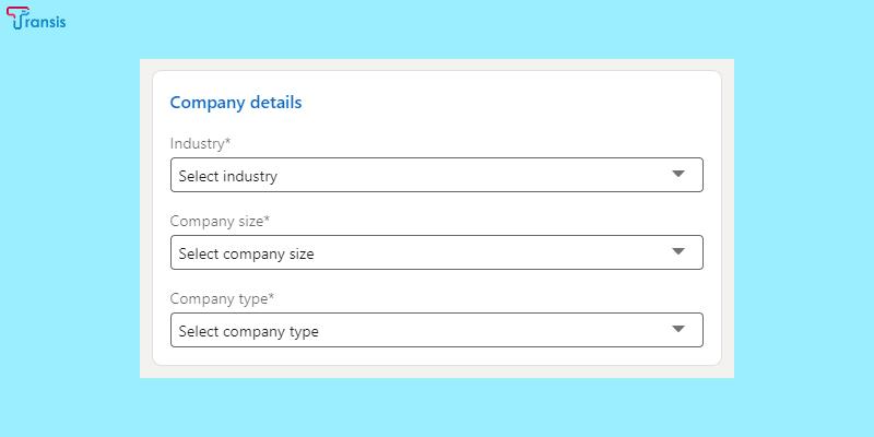 حساب تجاری LinkedIn - اطلاعات شرکتتان را وارد کنید