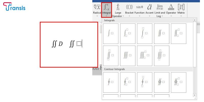 نحوه نوشتن انتگرال در ورد