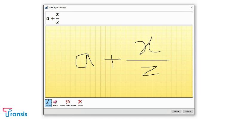 نحوه فرمول نویسی دستی در ورد